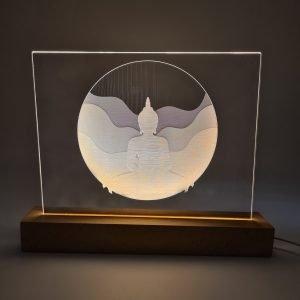 Lampe sur socle rectangulaire en bois