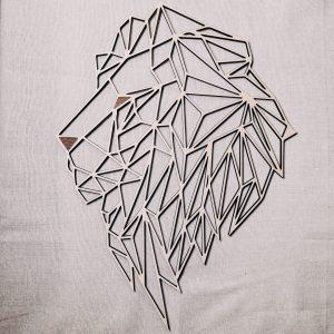Tête de Lion géométrique en bois