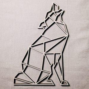 Loup géométrique en bois