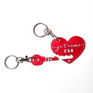 Porte-clés duo – Cœur + Clé – Initiales à personnaliser